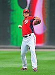5 September 2011: Washington Nationals pitcher Chien-Ming Wang warms up prior to a game against the Los Angeles Dodgers at Nationals Park in Los Angeles, District of Columbia. The Nationals defeated the Dodgers 7-2 in the first game of their 4-game series. Mandatory Credit: Ed Wolfstein Photo
