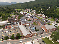Mass MOCA art museum, aerial North Adams, MA