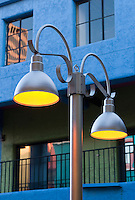 yellow lights in lamp post in colorful La Placitas Village.