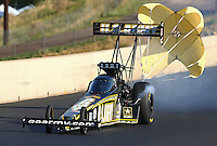 Jul. 20, 2013; Morrison, CO, USA: NHRA top fuel dragster driver Tony Schumacher during qualifying for the Mile High Nationals at Bandimere Speedway. Mandatory Credit: Mark J. Rebilas-