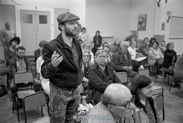 Walterton and Elgin Action Group meeting, Fernhead Road Methodist Church, North Paddington, 1985.  The resident-led campaign to take control of Walterton and Elgin estates and prevent their sale to private developers by Westminster City Council was eventually successful, and the homes were handed over to the residents in 1992.