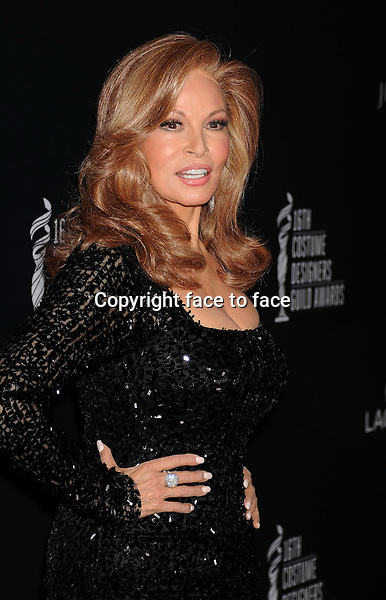 BEVERLY HILLS, CA- FEBRUARY 22: Actress Raquel Welch arrives at the 16th Costume Designers Guild Awards at The Beverly Hilton Hotel on February 22, 2014 in Beverly Hills, California.<br />
