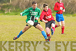 Morris O'Connor of Camp Juniors clears the ball as Fenit's Daniel O'Connor puts him under pressure in the quarter final of the U16 Cup last Saturday.   Copyright Kerry's Eye 2008
