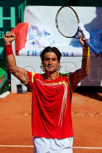06.04.2012 Oropesa, Spain. Quarter Final Davis Cup. David FErrer celebrates victory after second match of Quarter finals  game of Davis Cup played at Oropesa town.