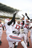 11 November 2006: Brent Newhouse, Nick Sanchez, Carlos McFall, Emmanuel Awofadeju and Marcus McCutcheon during Stanford's 20-3 win over the Washington Huskies in Seattle, WA.