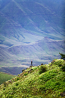 Hiker at Buckhorn Ridge overlook. Hells Canyon National Scenic Area. Oregon