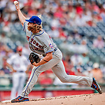 1 August 2018: New York Mets starting pitcher Noah Syndergaard on the mound against the Washington Nationals at Nationals Park in Washington, DC. The Nationals defeated the Mets 5-3 to sweep the 2-game weekday series. Mandatory Credit: Ed Wolfstein Photo *** RAW (NEF) Image File Available ***