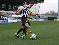 Ross Meechan gets round Liam Dick in the St Mirren v Falkirk Clydesdale Bank Scottish Premier League Under 20 match played at St Mirren Park, Paisley on 30.4.13. ..