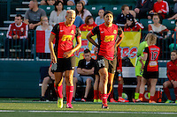 Rochester, NY - Friday July 01, 2016: Western New York Flash midfielder Lianne Sanderson (10), Western New York Flash forward Jessica McDonald (14) during a regular season National Women's Soccer League (NWSL) match between the Western New York Flash and the Chicago Red Stars at Rochester Rhinos Stadium.
