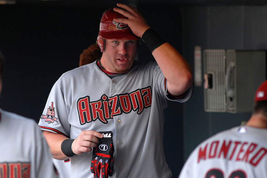 14 August 08: DBacks outfielder Adam Dunn in the dugout prior to an at bat against the Colorado Rockies. The Arizona Diamondbacks defeated the Colorado Rockies 6-2 at Coors Field in Denver, Colorado. FOR EDITORIAL USE ONLY. FOR EDITORIAL USE ONLY