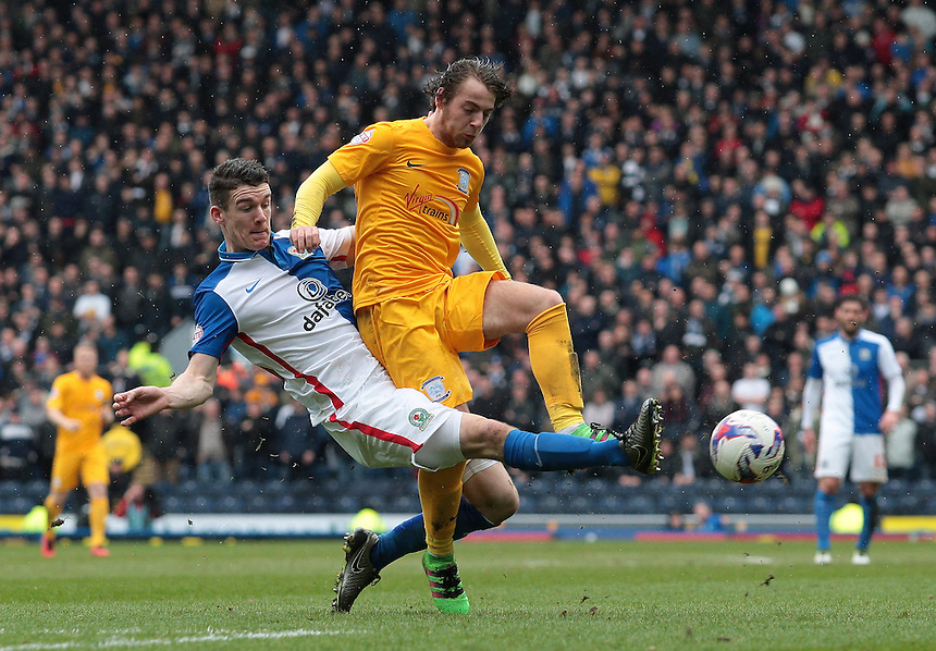 Blackburn Rovers' Darragh Lenihan tackle Preston North End&rsquo;s Ben Pearson<br /> <br /> Photographer David shipman/CameraSport<br /> <br /> Football - The Football League Sky Bet Championship - Blackburn Rovers v Preston North End - Saturday 2nd April 2016 - Ewood Park - Blackburn<br /> <br /> &copy; CameraSport - 43 Linden Ave. Countesthorpe. Leicester. England. LE8 5PG - Tel: +44 (0) 116 277 4147 - admin@camerasport.com - www.camerasport.com