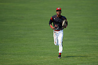 Batavia Muckdogs center fielder Brayan Hernandez (41) jogs to the dugout during the first game of a doubleheader against the Mahoning Valley Scrappers on September 4, 2017 at Dwyer Stadium in Batavia, New York.  Mahoning Valley defeated Batavia 4-3.  (Mike Janes/Four Seam Images)