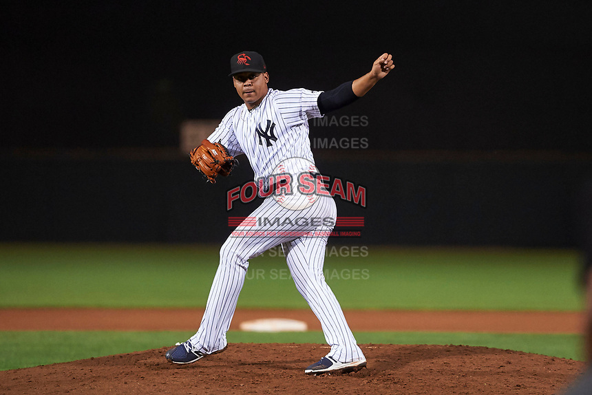 Scottsdale Scorpions starting pitcher Justus Sheffield (34), of the New York Yankees organization, follows through on his delivery during an Arizona Fall League game against the Mesa Solar Sox on October 23, 2017 at Scottsdale Stadium in Scottsdale, Arizona. The Solar Sox defeated the Scorpions 5-2. (Zachary Lucy/Four Seam Images)
