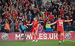 Cardiff - UK - 6th September :<br />Wales v Azerbaijan European Championship 2020 qualifier at Cardiff City Stadium.<br />Wales Captain Gareth Bale celebrates his late second half goal against Azerbaijan<br /><br />Editorial use only