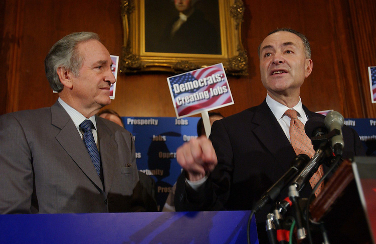 11/12/03.30-HOUR JUDICIAL NOMINATIONS DEBATE--Sen. Tom Harkin, D-Iowa, and Sen. Charles E. Schumer, D-N.Y., and other Democrats during a rally in the early evening in the Mansfield Room near the Senate floor..CONGRESSIONAL QUARTERLY PHOTO BY SCOTT J. FERRELL