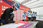 Delko Marseilles Provence KTM team at sign on before the start of Stage 2 of Il Giro di Sicilia running 236km from Capo d'Orlando to Palermo, Italy. 4th April 2019.<br /> Picture: LaPresse/Massimo Paolone | Cyclefile<br /> <br /> <br /> All photos usage must carry mandatory copyright credit (© Cyclefile | LaPresse/Massimo Paolone)
