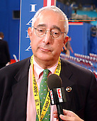 "New York, NY - August 31, 2004 --  Ben Stein is interviewed by the ""E!"" network on the floor of the 2004 Republican National Convention at Madison Square Garden in New York , New York, on Tuesday, August 31, 2004..Credit: Ron Sachs / CNP                              .(RESTRICTION: No New York Metro or other Newspapers within a 75 mile radius of New York City)"