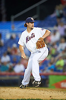Binghamton Mets relief pitcher Logan Taylor (34) during a game against the Trenton Thunder on May 29, 2016 at NYSEG Stadium in Binghamton, New York.  Trenton defeated Binghamton 2-0.  (Mike Janes/Four Seam Images)