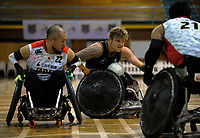 Cameron Leslie in action during the 2017 International Wheelchair Rugby Federation Asia-Oceania Zone Championships tournament semifinal match between the New Zealand Wheel Blacks and Japan at ASB Stadium in Auckland, New Zealand on Thursday, 31 August 2017. Photo: Dave Lintott / lintottphoto.co.nz