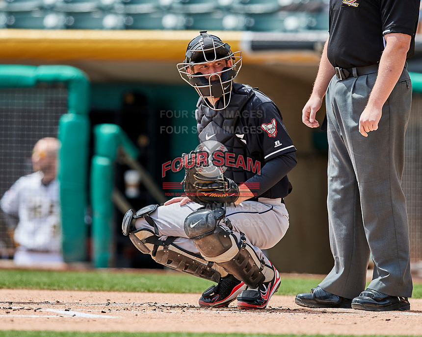 Rocky Gale (17) of the El Paso Chihuahuas on defense against the Salt Lake Bees in Pacific Coast League action at Smith's Ballpark on April 30, 2017 in Salt Lake City, Utah.   El Paso defeated Salt Lake 3-0. This was Game 1 of a double-header.(Stephen Smith/Four Seam Images)