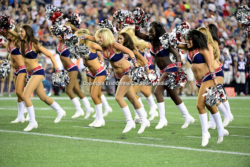 Thursday, August 18 2016:  The New England Patriots cheerleaders entertain fans during a pre-season NFL game between the Chicago Bears and the New England Patriots held at Gillette Stadium in Foxborough Massachusetts. The Patriots defeat the Bears 23-22 in regulation time. Eric Canha/Cal Sport Media