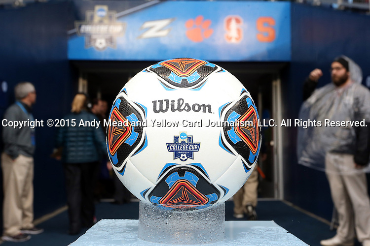 13 December 2015: The match ball wait for the referees to lead the players onto the field. The Clemson University Tigers played the Stanford University Cardinal at Sporting Park in Kansas City, Kansas in the 2015 NCAA Division I Men's College Cup championship match. Stanford won the game 4-0.