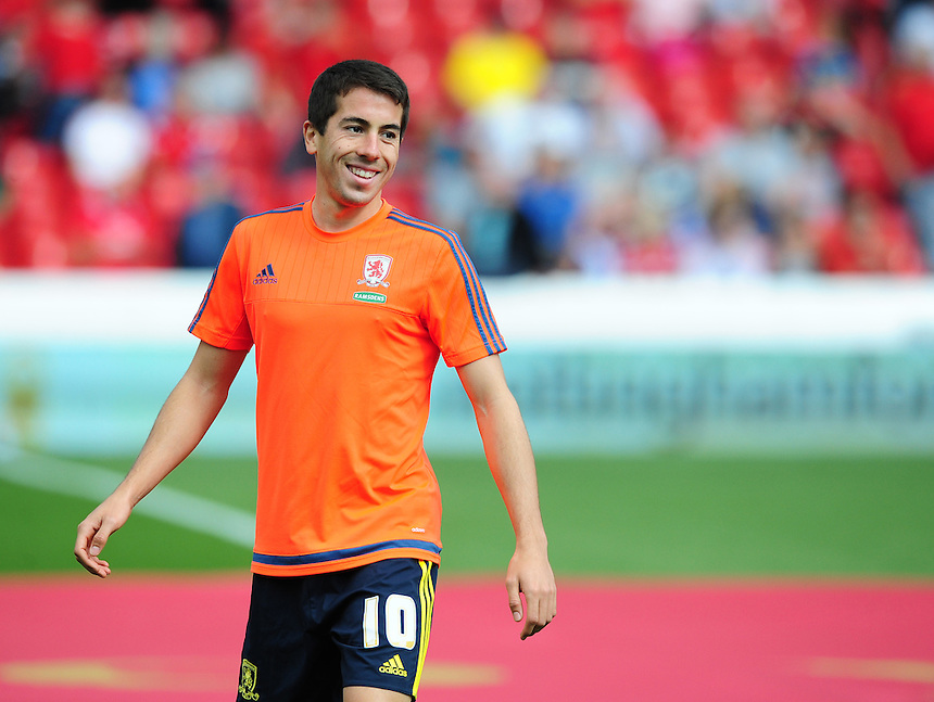 Middlesbrough&rsquo;s Carlos de Pena during the pre-match warm-up <br /> <br /> Photographer Chris Vaughan/CameraSport<br /> <br /> Football - The Football League Sky Bet Championship - Nottingham Forest v Middlesbrough - Saturday 19th September 2015 - City Ground - Nottingham<br /> <br /> &copy; CameraSport - 43 Linden Ave. Countesthorpe. Leicester. England. LE8 5PG - Tel: +44 (0) 116 277 4147 - admin@camerasport.com - www.camerasport.com
