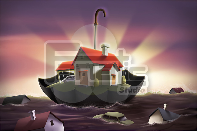 Illustration of an umbrella protecting house from flood representing home insurance