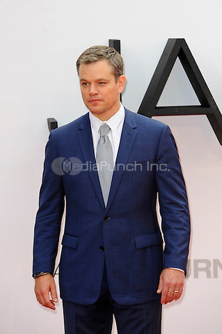 LONDON, ENGLAND - JULY 11: Matt Damon attending the 'Jason Bourne' European Premiere at Odeon Cinema, Leicester Square on July 11, 2016 in London, England.<br /> CAP/MAR<br /> &copy;MAR/Capital Pictures /MediaPunch ***NORTH AND SOUTH AMERICAS ONLY***
