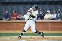 Michael Ludowig (22) of the Wake Forest Demon Deacons at bat against the Miami Hurricanes at David F. Couch Ballpark on May 11, 2019 in  Winston-Salem, North Carolina. The Hurricanes defeated the Demon Deacons 8-4. (Brian Westerholt/Four Seam Images)
