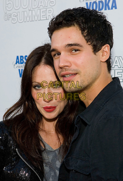 "LYNN COLLINS & STEVEN STRAIGHT .The Fox Searchlight L.A. Premiere of ""(500) Days of Summer"" held at The Egyptian Theatre Theatre in Hollywood, California, USA..June 24th, 2009.headshot portrait black red lipstick stubble facial hair couple.CAP/ADM/TC.©T. Conrad/AdMedia/Capital Pictures."