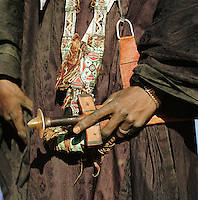 Detail of a Tuareg tribesman with his sword. Libya