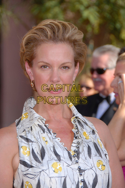 ELIZABETH PERKINS.59th Annual Primetime Emmy Awards held at the Shrine Auditorium, Los Angeles, California, USA..September 16th, 2007.headshot portrait white yellow black pattern collar.CAP/ADM/BP.©Byron Purvis/AdMedia/Capital Pictures.