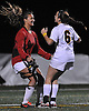 Haylee Poltorak, Massapequa goalie, left, and Morgan Camarda #6 celebrate after their team's 5-1 win over Calhoun in the Nassau County varsity girls soccer Class AA final at Cold Spring Harbor High School on Tuesday, Nov. 1, 2016.
