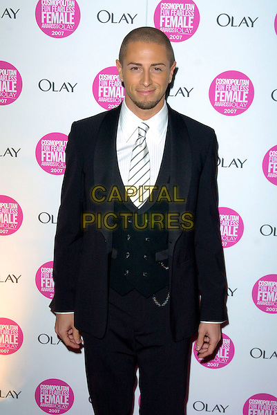 BRIAN FREIDMAN.Cosmopolitan Fun Fearless Female Awards 2007 held at Cirque, Leicester Square, London, England. .November 6th 2007 .half length suit friedman black white striped tie .CAP/CAN.©Can Nguyen/Capital Pictures