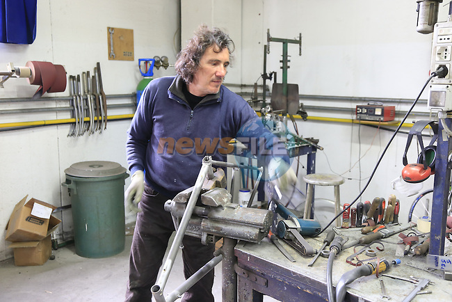 Paolo works on a steel frame on the shop floor of the Tommasini factory based in Grosseto, Tuscany, Italy 6th March 2017.<br /> Picture: Eoin Clarke | Newsfile<br /> <br /> <br /> All photos usage must carry mandatory copyright credit (© Newsfile | Eoin Clarke)