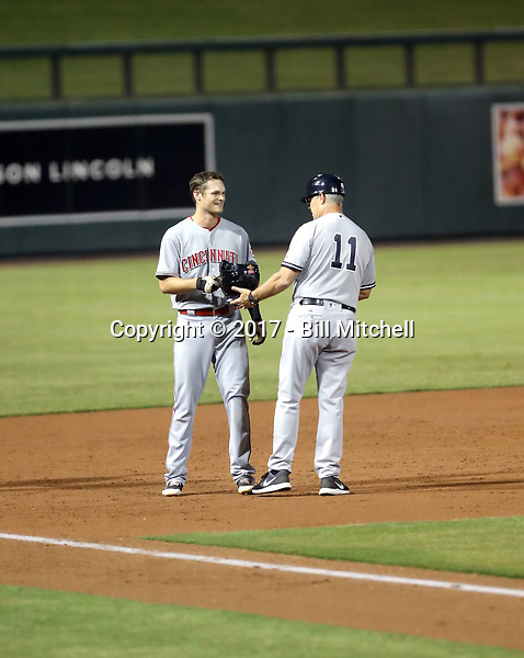 Brantley Bell (left), Jay Bell-Scottsdale Scorpions manager (right) - Scottsdale Scorpions - 2017 Arizona Fall League (Bill Mitchell)