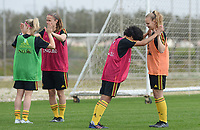 20180306 - LARNACA , CYPRUS :  Belgian Sarah Wijnants (r) and Kassandra Missipo (middle) pictured during a Matchday -1 training from The Belgian Red Flames prior to their game against South Africa , on tuesday 6 March 2018 at the Alpha Sports Grounds in Larnaca , Cyprus . This will be the final game for Belgium during the Cyprus Womens Cup for a battle for the 5th place , a prestigious women soccer tournament as a preparation on the World Cup 2019 qualification duels. PHOTO SPORTPIX.BE | DAVID CATRY