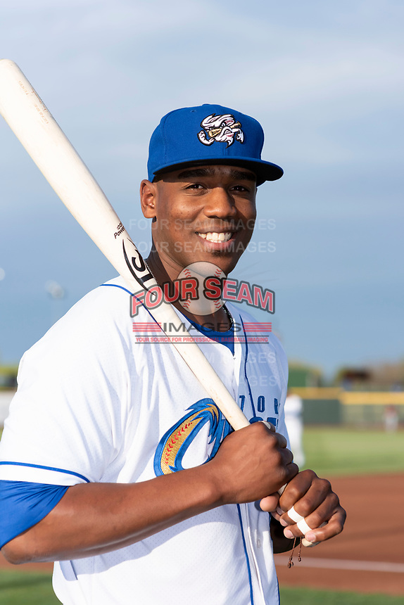 Omaha Storm Chasers outfielder Elier Hernandez (6) poses for a photo before a Pacific Coast League game against the Memphis Redbirds at Werner Park on April 26, 2019 in Omaha, Nebraska. (Zachary Lucy/Four Seam Images)
