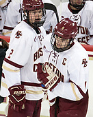 Scott Savage (BC - 2), Chris Calnan,Boston College, Eagles, - The visiting University of Vermont Catamounts tied the Boston College Eagles 2-2 on Saturday, February 18, 2017, Boston College's senior night at Kelley Rink in Conte Forum in Chestnut Hill, Massachusetts.Vermont and BC tied 2-2 on Saturday, February 18, 2017, Boston College's senior night at Kelley Rink in Conte Forum in Chestnut Hill, Massachusetts.