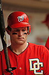 3 September 2006: Austin Kearns, right fielder for the Washington Nationals, awaits his step up to the on-deck circle in a game against the Arizona Diamondbacks. The Nationals defeated the Diamondbacks 5-3 at Robert F. Kennedy Memorial Stadium in Washington, DC. The win marked the fourth straight game in which the Nationals came back from a  two or more run deficit after seven innings of play - a feat last accomplished by the 1923 New York Giants.Mandatory Photo Credit: Ed Wolfstein.