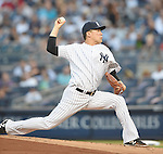 Masahiro Tanaka (Yankees), AUGUST 21, 2015 - MLB : Masahiro Tanaka of the New York Yankees pitches during the Major League Baseball game against the Cleveland Indians at Yankee Stadium in the Bronx, New York, United States. (Photo by AFLO)