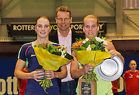 December 21, 2014, Rotterdam, Topsport Centrum, Lotto NK Tennis, Richel Hogenkamp (NED) winner and Bibianne Weijers runner up and in the middle technical director of the KNLTB Jan Siemerink<br /> Photo: Tennisimages/Henk Koster