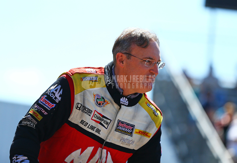 Jun 7, 2015; Englishtown, NJ, USA; NHRA top fuel driver Doug Kalitta during the Summernationals at Old Bridge Township Raceway Park. Mandatory Credit: Mark J. Rebilas-