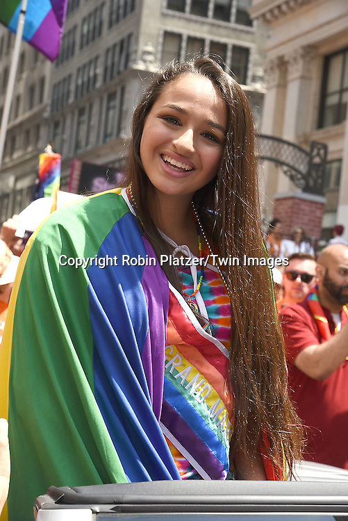 Grand Marshal Jazz Jennings attends the New York City Gay Pride March 2016 on June 26, 2016 on Fifth Avenue in New York City, New York, USA.<br /> <br /> photo by Robin Platzer/Twin Images<br />  <br /> phone number 212-935-0770