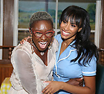Cynthia Erivo with Nicolette Robinson backstage after Nicolette Robinson makes her Broadway debut in 'Waitress' on September 4, 2081 at the Brooks Atkinson Theatre in New York City.