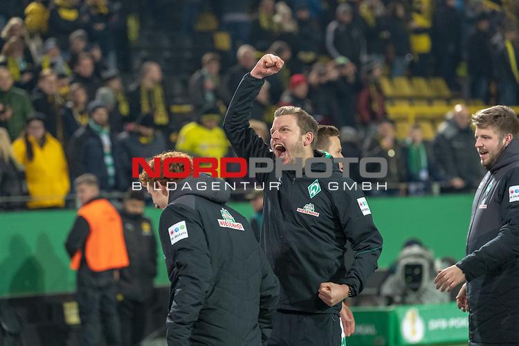 05.02.2019, Signal Iduna Park, Dortmund, GER, DFB-Pokal, Achtelfinale, Borussia Dortmund vs Werder Bremen<br /> <br /> DFB REGULATIONS PROHIBIT ANY USE OF PHOTOGRAPHS AS IMAGE SEQUENCES AND/OR QUASI-VIDEO.<br /> <br /> im Bild / picture shows<br /> <br /> Jubel bei Florian Kohfeldt (Trainer SV Werder Bremen)<br /> Foto © nordphoto / Ewert