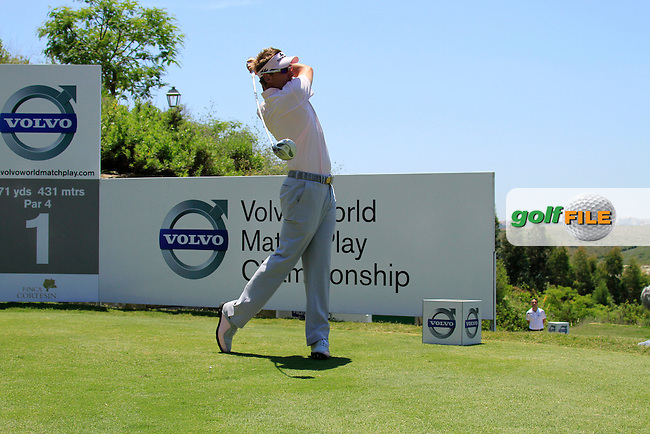 Ian Poulter (ENG) tees off on the 1st tee at the start of the afternoon Final session on the Final Day of the Volvo World Match Play Championship in Finca Cortesin, Casares, Spain, 22nd May 2011. (Photo Eoin Clarke/Golffile 2011)