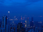 Skyline of Hongkongs Central District by night with the International Finance Centre.