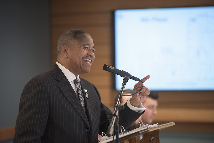President Roderick McDavis speaks to the large crowd gathered  for the ribbon cutting ceremony for the Gladys W. and David H. Patton College of Education's newly renovated McCracken Hall held on January 27, 2017.